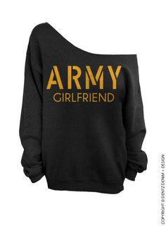 "Use coupon code ""pinterest"" Army Girlfriend - Black with Gold Slouchy Oversized Sweatshirt by DentzDesign"