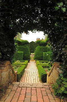 Hidcote Manor Garden Brick Pathway. Gloucestershire, England. That Brick Pathway is Wonderful!!!