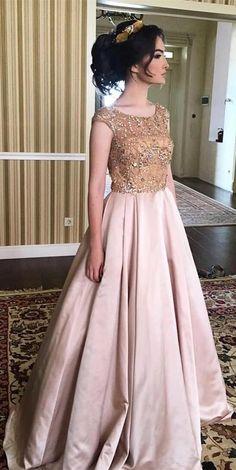 UPD0239, elegant bateau pink satin prom dress with beading, chic bateauu pink satin party dress with beading