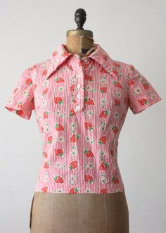 1960's strawberry print blouse
