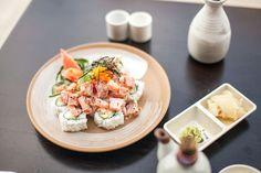 Palm Springs Roll: Fresh Tuna, Tomato, Crunch Sauce & Smelt Egg on Top of California Roll | Yen Sushi & Sake Bar, Century City, CA