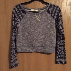 Aztec Pattern Crop Sweatshirt heather body with woven print sleeves. dark blue is a thinner knit. neon detail at collar. never worn. Almost Famous Tops Crop Tops