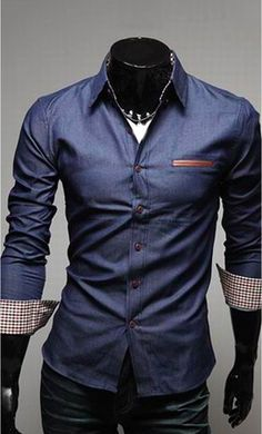 Very nice blue denim shirt.