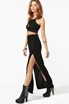 Surrender Maxi Skirt, Nasty Gal, $58. The real question is, can Shrimpy McGee me pull off a slit to there maxi skirt.