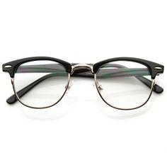 Optical Quality Horned Rim Clear Lens RX'able Half Frame Horn Rimmed Glasses - Brillengestelle Cool Glasses For Men, Fake Glasses, Half Frame Glasses, Cheap Glasses Frames, Vintage Glasses Frames, Womens Glasses Frames, Lunette Style, Round Lens Sunglasses, Mirrored Sunglasses