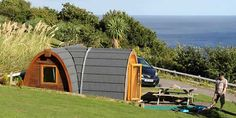 Snug for glamping at Bay View Farm Camping Site overlooking Looe Bay, Cornwall