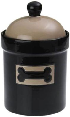 Conveniently store your pet treats in this delightful Petrageous City Pets Treat Jar.The chic black exterior is complemented with a taupe lid and a taupe-outlined dog bone image on the front for easy identification. Dog Treat Jar, Treat Bags, Dog Food Storage, Pet Treats, Dog Feeding, Pet Bowls, Outdoor Dog, Pet Accessories, Dog Gifts