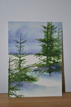 40 Beautiful Christmas Painting Ideas to Try This Season Weihnachtskarten Watercolor Pictures, Watercolor Trees, Watercolor Cards, Watercolor Landscape, Watercolor Paintings, Watercolors, Watercolor Portraits, Bird Paintings, Watercolor Artists