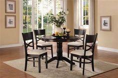 Clancy Traditional Warm Black Wood Fabric 5-Piece Pedestal Dinette Set