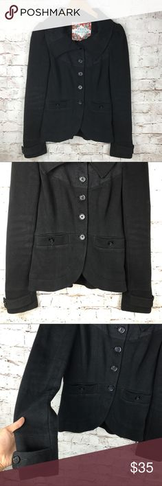 """Free People Black Cotton Knit Jacket Cotton knit black jacket from Free People with patterned top. Armpit to armpit 17"""", waist 14.5. Base of collar to hem 23"""". Armpit to sleeve hem 19.5"""". Free People Jackets & Coats Blazers"""
