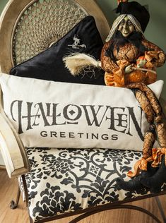 halloween decor,halloween pillow,trick or treat,give thanks,fall pillow,witches,Halloween deocrations,Halloween lights,Halloween candles - pinned by pin4etsy.com