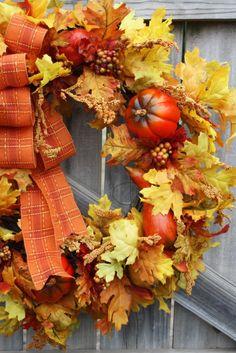 fall wreath, plaid orange bow