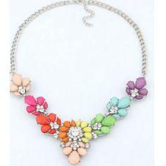 Multicolor Jewel Gem Floral Bib Statement Necklace