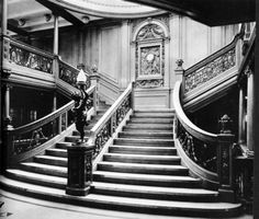 ~The grand staircase on board the RMS Titanic, 1912.