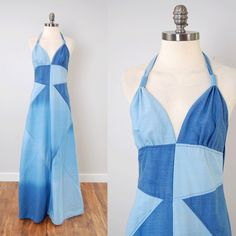 Vintage 70s CHAMBRAY patchwork halter maxi by digvintageclothing