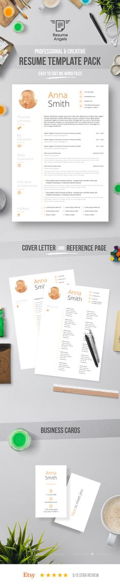 Swiss Resume Template + Cover Letter + Reference Page / Clean