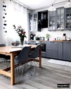 21 Creative Grey Kitchen Cabinet Ideas for Your Kitchen - Design della cucina Kitchen Cabinet Design, Apartment Kitchen, Kitchen Interior, Home Kitchens, Grey Kitchen, Grey Dining Room, Interior, Grey Kitchen Cabinets, Home Decor