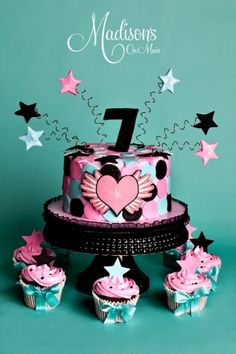 I had so much fun making this for a little girl's birthday. I used the design from her invitation as the inspiration for the decor. Pink buttercream with hand cut fondant polka dots, and shooting stars. 12 matching cupcakes to go with it! 7th Birthday Cakes, Cupcake Birthday Cake, Cupcake Cakes, Birthday Ideas, Birthday Fun, Fancy Cakes, Cute Cakes, Yummy Cakes, Cake Icing