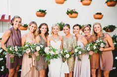 eclectic mix of bridesmaids' dresses, photo by Hello Studios http://ruffledblog.com/modern-laguna-beach-wedding #bridesmaidsdresses #bridalparty