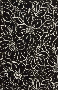 Skyland Flower Black/Ivory Rug | Wayfair