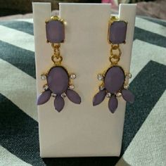 Purple statement earrings Gold post earrings with purple plastic gems and clear crystals. Beautiful.  New. Jewelry Earrings