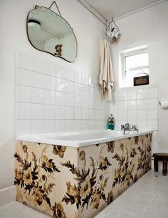 Really like this vintage feel in small modern bathroom, makes it so much more interesting...