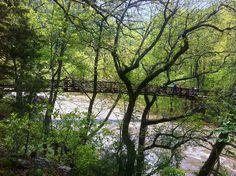 Bridge crossing over to an island below Sandstone Falls