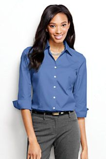 3ff5627a6be Women s 3 4-sleeve No Iron Broadcloth Blouse from Lands  End Office Wardrobe