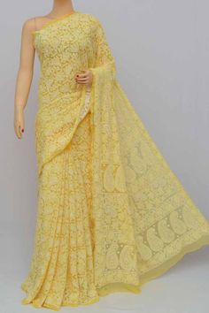 Yellow Color Allover Jaal Heavy Palla Hand Embroidered Lucknowi Chikankari Saree (With Blouse - Georgette) Shiffon Saree, Tussar Silk Saree, Georgette Sarees, Net Saree, Cotton Saree, Indian Attire, Indian Ethnic Wear, Red Indian, Indian Dresses