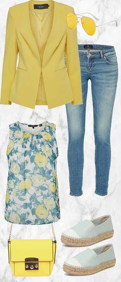 Schickes Frühlingsoutfit aus gelbem Blazer, Top und Jeans... #fashion #fashionista #mode #damenmode #frauenmode #damenkleidung #frauenkleidung #kleidung #trend #trend2018 #frühling #modetrend