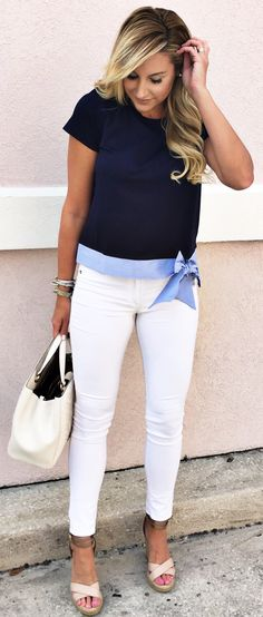 Black Blouse & Cream Leather Tote Bag & White Skinny Jeans