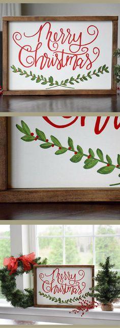 Merry Christmas Wood Sign, Christmas Sign, Farmhouse Christmas Decor, Rustic Christmas Wall Decor, Christmas Mantle, Holiday Decor, Seasonal Decor, Christmas sign, Rustic decor #ad
