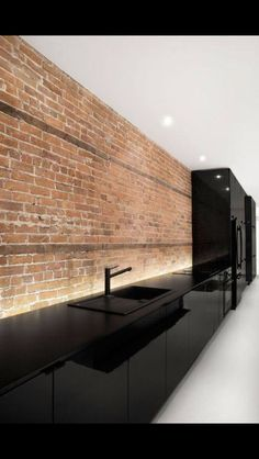 Black Kitchen brick wall, great contrast!!