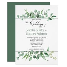 Eucalyptus Envy Framed Wedding Invitation - wedding invitations cards custom invitation card design marriage party