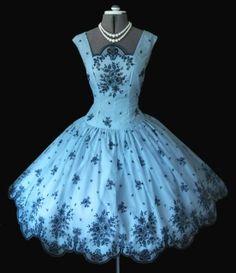 Vintage Flocked Robin Egg Blue Dress