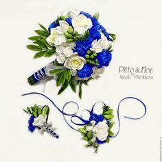 """Свадебные цветы ручной работы. Ярмарка Мастеров - ручная работа. Купить Свадебный букет """"Синие и белые тона"""". Handmade."""
