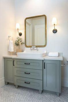 Beautiful European Contemporary Home Tour Vanity Paint Color is Farrow & Ball Pigeon Modern Bathroom Design, Bathroom Interior Design, Best Kitchen Design, Bathroom Renos, Bathroom Ideas, Bathroom Organization, Shower Ideas, Bathroom Laundry, Bathroom Closet
