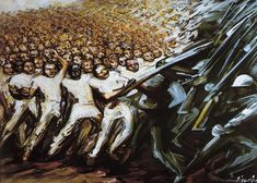 Lucha por la Emancipación. 1961.  Acrílico. 76 x 61 cm.  Colección privada.