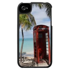 Red public Telephone Booth on Antigua iPhone 4 Cover from Zazzle.com