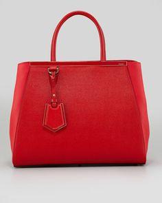 FENDI  2Jours Saffiano Medium Tote Bag, Red