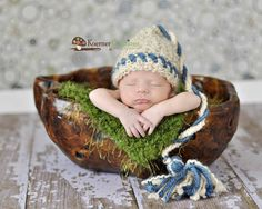 Newborn Baby Boy Off White and Blue Wizzard Crochet by EcoStreet. $27.00 USD, via Etsy.