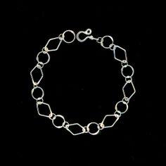 Wire Circle Bracelet Silver Chain Eco Friendly Diamond Shape Bracelet Chain Link Sterling Silver, Wire Jewelry