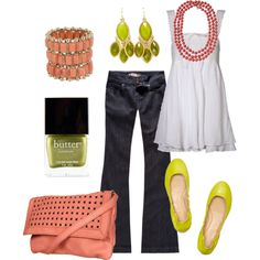 coral & lime, created by htotheb on Polyvore featuring the Stella & Dot - La Coco Rope Necklace in Coral