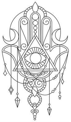 I like the draping jewels of the hand, the rest. Hamsa, hand of Fatima, sternum tattoo inspo. Colouring Pages, Coloring Books, Tatouage Main Hamsa, Hamsa Design, Hamsa Tattoo Design, Hand Of Fatima, Fatima Hand Tattoo, Hand Tattoos, Script Tattoos
