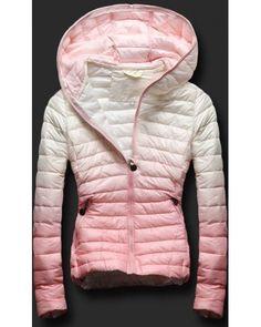 585c41ac9abf Dámská prošívaná bunda s kapucí H-766 bílo-růžová