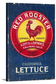 Red Rooster Vegetable - Vintage Crate Label