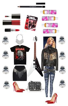 """Metal chick."" by amberjak ❤ liked on Polyvore featuring Anthony Vaccarello, Christian Louboutin, rag & bone, DANNIJO, Maison Recuerdo, Alexander Wang, Yves Saint Laurent, MAC Cosmetics, Giorgio Armani and Givenchy"