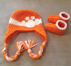 Custom Crochet Clemson Hat and Booties on Etsy, $20.00