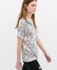 ZARA - SALE - PRINTED T-SHIRT WITH APPLIQUES