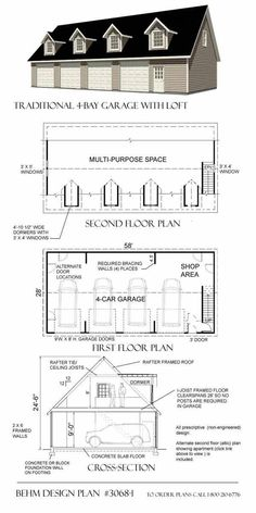 Traditional 4 Bay Garage with Loft in the size of 3068-1 - 58' x 28' at genuine cost. Add to cart now! #PoleShedPlan